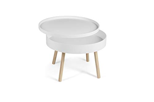 LIFA LIVING Moderne Opbergtafel, Witte Bijzettafel, Houten Salontafel, Ronde Industriele Koffietafel voor Woonkamer, Slaapkamer, Keuken, Ø60 x 44 cm