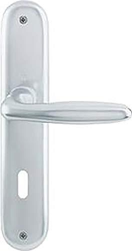 Hoppe Verona Aluminium Langschild Türgriff Garnitur für Innentüren F1 Natur 1510/273P PZ Profilzylinder 8/72 mm