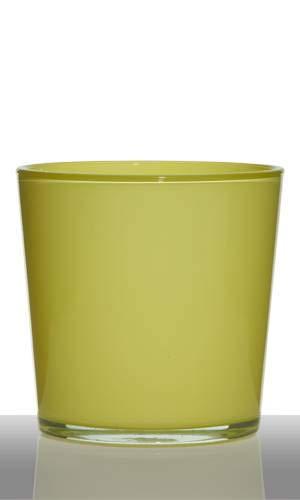 INNA-Glas Lot 4 x Pot de Fleurs Alena, Cylindre - Rond, Jaune-Vert, 19cm, Ø19cm - Cache-Pot en Verre - Verre décoratif