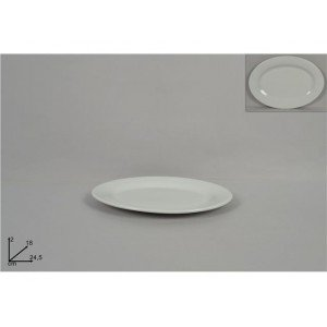 A.K TRADING Assiette Blanche Ovale 24.5 X 18 CM REF 8072 Code 2633