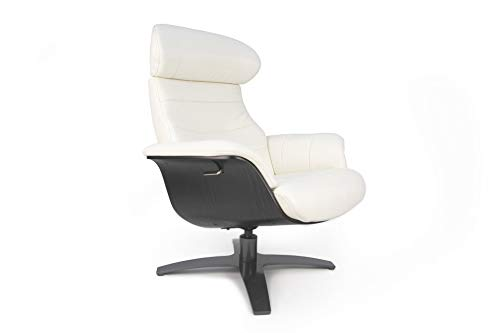 Vega Relaxsessel, Leder, weiß, mit schwarzer Holzschale, Design, Qualität und hohem Komfort, neigbare Rückenlehne, verstellbare Kopfstütze (weiß, Leder)