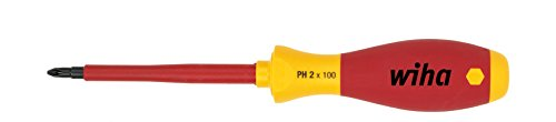 Wiha Schraubendreher SoftFinish® electric Phillips (00848) PH2 x 100 mm VDE geprüft, stückgeprüft, ergonomischer Griff für kraftvolles Drehen, Allrounder für Elektriker