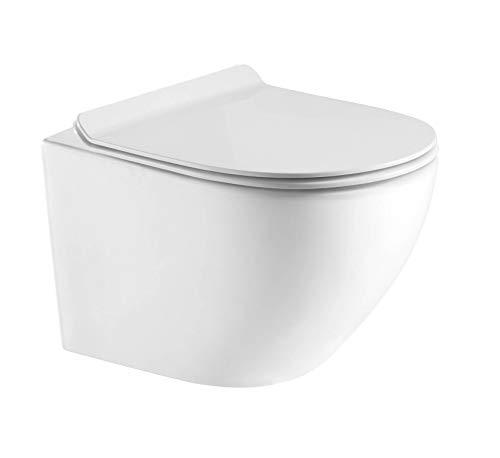 Hänge WC Spülrandlos kurz, Designer Wand Toilette Nano beschichtet mit WC Sitz + Deckel aus Duroplast in 2 versionen und Softclose Absenkautomatik abnehmbar + Beschichtung (WC mit Slim Seat)