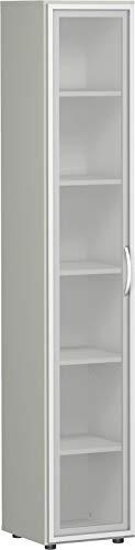 Gera Möbel, B x T x H 400 x 420 x 2160 mm, 6 OH, 5 Böden, Glastüren, Justierfüße Büro-Flügeltürenschrank, Holz, lichtgrau, 60 x 43 x 220 cm
