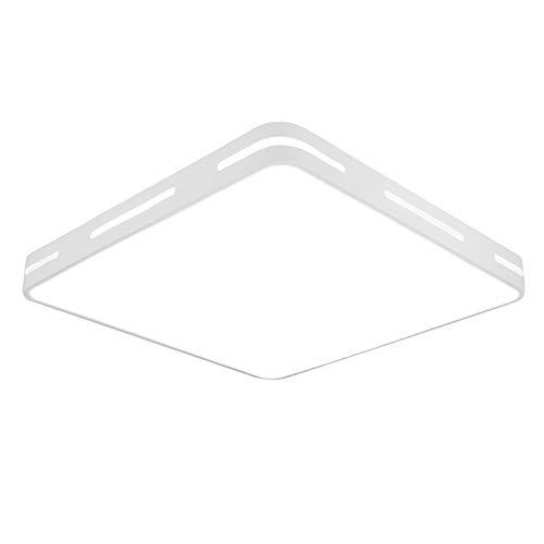 ERWEY 36W LED Deckenleuchte Kaltweiß 50x50x5CM Eckig Deckenlampe 2880Lumen Modern Deckenbeleuchtung aus Metall und Kunststoff Weiß (Weiß Kaltweiß ohne FB, 50x50CM 36W)