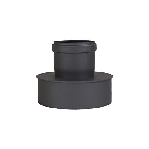 Pelletrohr Ofenrohr Pellet Rauchrohr Kaminrohr Erweiterung Ø 80mm auf 130 mm Ø 80mm auf 150 mm grau schwarz (Ø 80mm auf 150 mm, schwarz)