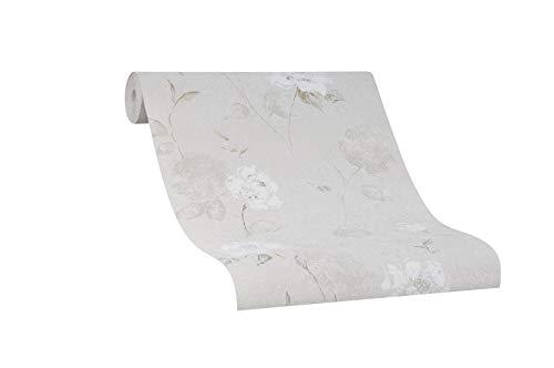 Papel pintado con flores – Papel pintado floral – Papel pintado para dormitorio, salón o pasillo – beige claro crema blanco y negro – Fabricado en Alemania – 10,05 m x 0,53 m – Novamur