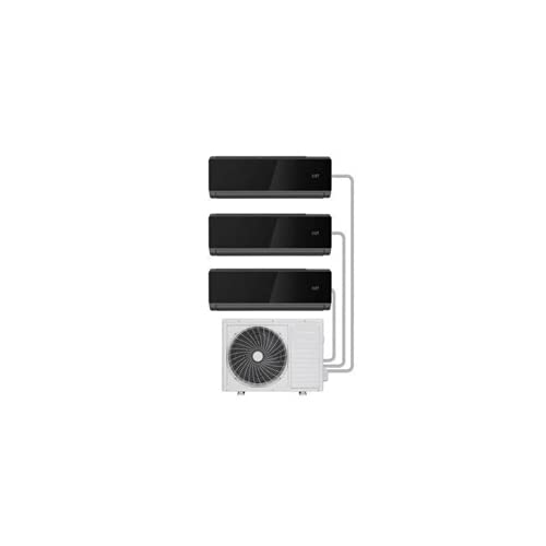 electriQ Black Multi-Split 3X 9000 BTU WiFi Smart A++ Wall Air Conditioner System with Single Outdoor Unit and 5m Pipe Kits