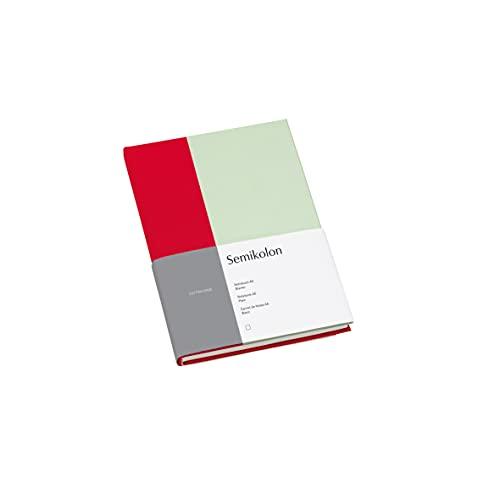 Semikolon (364818) Notizbuch A5 Cutting Edge Blanko Cherry - Pistachio mit Bucheineneinband, 172 FSC-zertifizierte Seiten Elafin-Papier und Lesezeichen