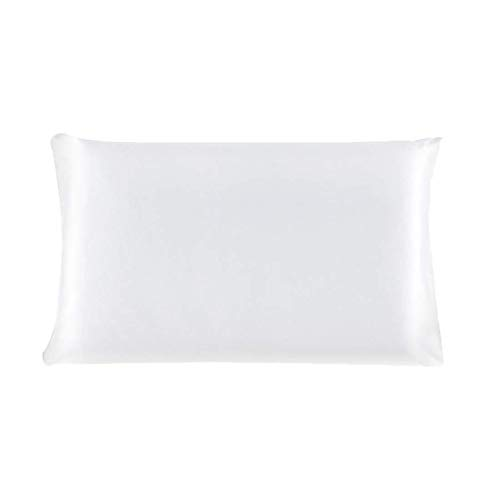 YeVhear - Funda de almohada de seda pura para el pelo y la piel, 19 Momme (1 unidad) Pearl White Queen (20 x 30 pulgadas)