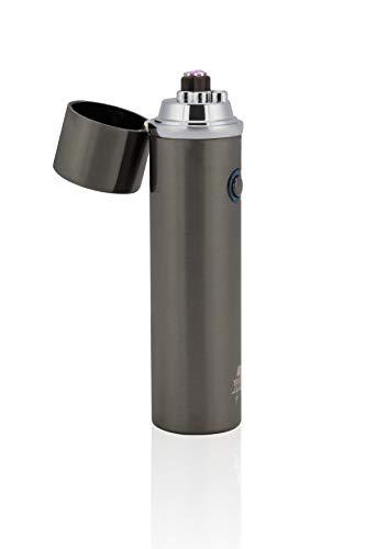TESLA Lighter T02 Lichtbogen Feuerzeug, Plasma Double-Arc, elektronisch wiederaufladbar, aufladbar mit Strom per USB, ohne Gas und Benzin, mit Ladekabel, in edler Geschenkverpackung Structured-Schwarz