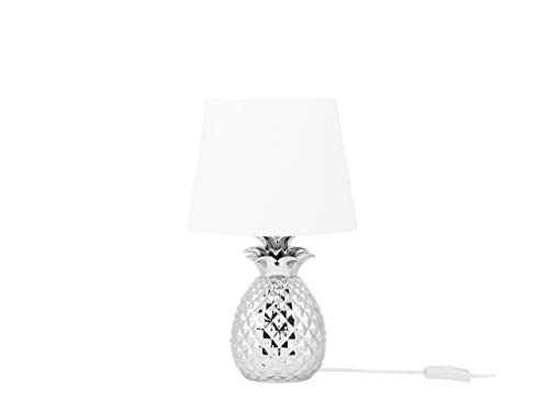 Beliani Stilvolle Tischleuchte Lampenfuß in Ananas Form silbern/weß Keramik/Polyester Pineapple