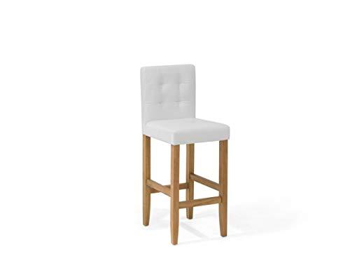 Beliani - Chaise de Bar - Madison - Simili-Cuir, Blanc Crème