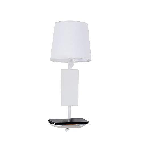 Eenvoudige Moderne Wandlamp, Binnenstof Lampenkap Met Plank, Opladen Via Usb, E14 Lampkop Geschikt Voor Thuis, Restaurant, Gang (exclusief Lichtbron)