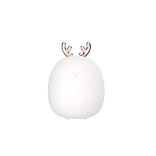 Bciou Lovely Rabbit Deer Night Light USB Silicona LED Lámpara Inalámbrica Sensor Táctil Bebé Niños Dormitorio Dormitorio Salón Iluminación Decorativa Niños Regalo