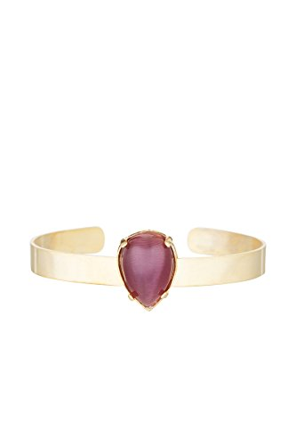 Córdoba Jewels | Pulsera en Acero bañado en Oro con Piedra semipreciosa con diseño Brazalete Lágrima Amatista Gold