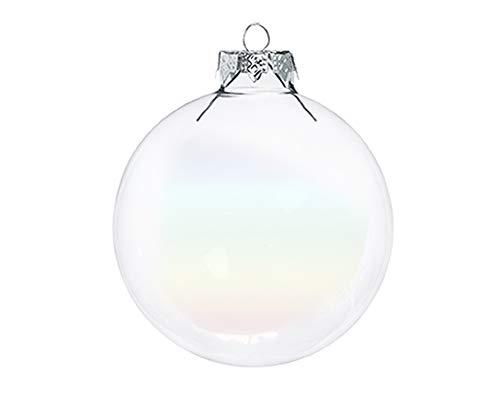 Zelda Bomboniere Pz 16 Palle di Natale Vetro Sfera Trasparente Cm 8 Addobbi Albero di Natale