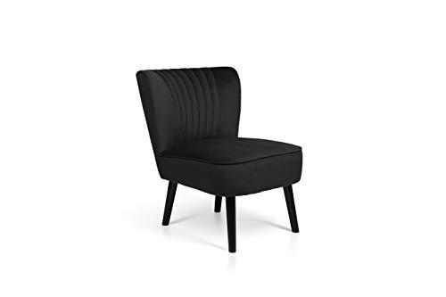 LIFA LIVING Vintage Fauteuil, Fluweel en Houten Lounge stoel, Zwarte Woonkamerstoel, Moderne Stoel voor Woonkamer, Slaapkamer, Eetkamer, 58 x 70 x 72 cm