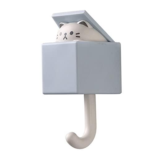 Percheros Creativo gato gato gancho lindo oso transparente dormitorio dormitorio puedas ganchos ganchos clave paraguas toalla toalla capa cubierta de pared decoración de pared ( Color : Light grey )