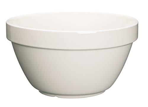 KitchenCraft Home Made Puddingform / Rührschüssel aus Keramik, Weiß, Extragroß (1,5 Liter)