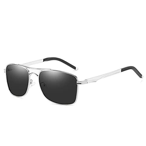 XJW Gafas de sol polarizadas de medio marco para hombre con templos de aluminio y magnesio para pesca, ciclismo y conducción 2021/5/21 (color gris plateado)