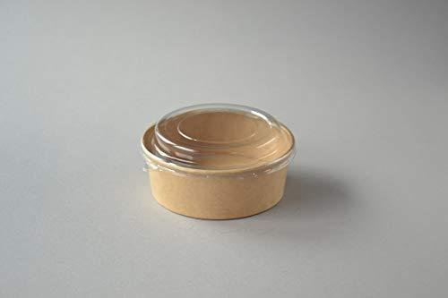 300 Stück Bio Salatschalen mit Deckel (18 OZ), 550 ml (kraft, bedruckt mit Motiv GO GREEN) Salatbox Paper Bowl Salat to go Schale Salat-Bowl Hartpapier Schale Salatbecher Kartonschale