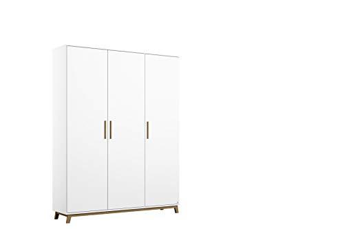 Rauch Möbel Carlsson Schrank Drehtürenschrank in Weiß, Griffe/Füße Eiche Massiv, 3-türig, inkl. Zubehörpaket Basic 1 Kleiderstange, 4 Einlegeböden, BxHxT 136x203x53 cm