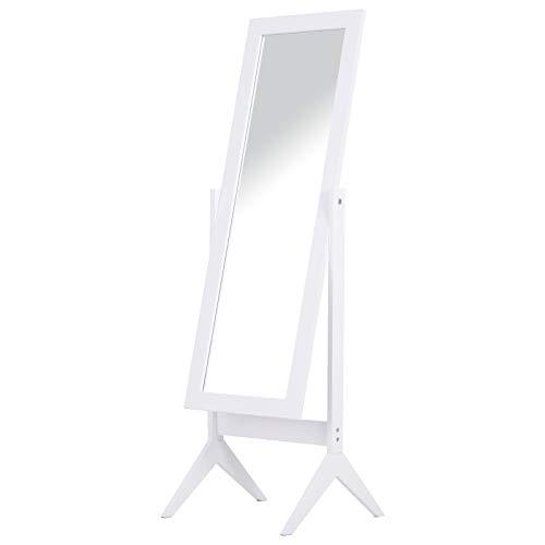 HOMCOM Standspiegel Ganzkörperspiegel Schminkspiegel Erhöhte Füße Pflegeleicht MDF Weiß 47 x 46 x 148 cm