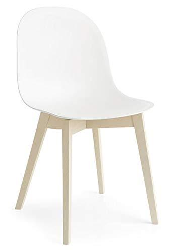 Connubia Calligaris Sedia Academy CB/1665 Set 2 sedie Struttura Faggio Sbiancato Seduta Polipropilene Bianco