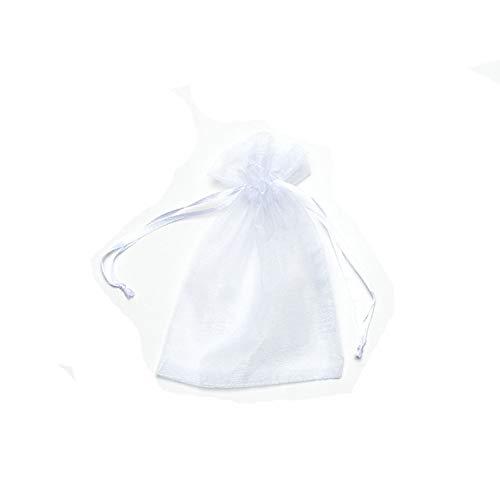 ASR - Juego de 100 bolsas de regalo para joyas, granos de café, semillas, caramelos, bolsa con anillo de dragón, blanco, rosa, negro, azul (blanco, 13 x 18 cm)
