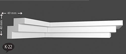 22 m+4 Ecken Zierleisten Styroporleisten Zierprofile Stuckleisten 40x40mm K 22