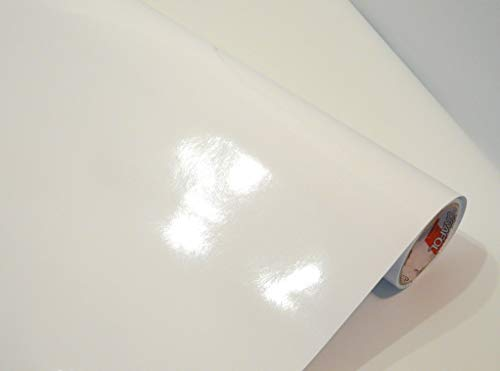 Neuheit bei tjapalo® Möbelfolie selbstklebend hochglanz Küchenfolie Bastelfolie Türfolie Klebefolie zum basteln folie zum bekleben von möbel mit Anleitung, Farbe: Weiß, Größe: L300xB63cm