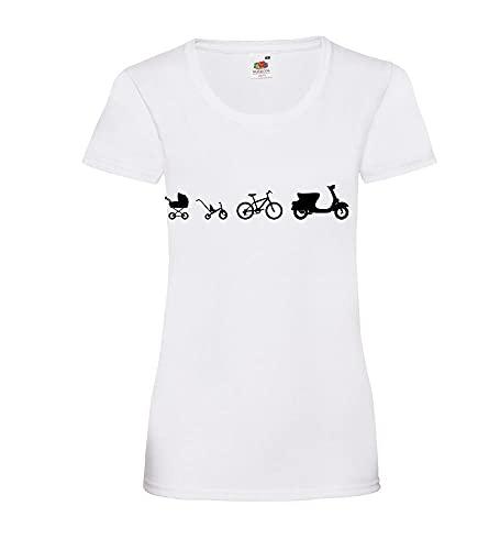 Shirt84.de Evolution - Camiseta para mujer Blanco M
