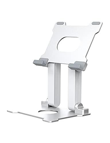 タブレットスタンド iPad スタンド 卓上 アルミ製 土台強化 安定性抜群 折り畳み式 高さ調整 角度調整可能 滑り止め付きスタンド(4-15インチ)iPad/タブレット/iPhone/スマートフォン/Nintendo Switch/キンドルに対応 タプレット スタンド(シルバー)