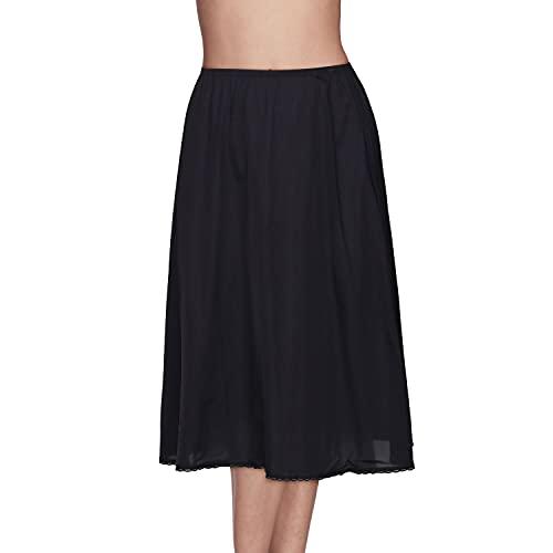 Vanity Fair Women's Anti-Static Nylon Half Slip for Under Dresses, No Slit-28 Length-Black, X-Large