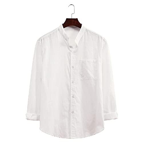 EVAEVA Polos Hombre Camisetas de Mangas Largas Cárdigans con Botones Blusas de Color sólido Camisa de Solapa Casual Transpirable Túnicas BáSica Tops para Trabajo Otoño Al Aire Libre