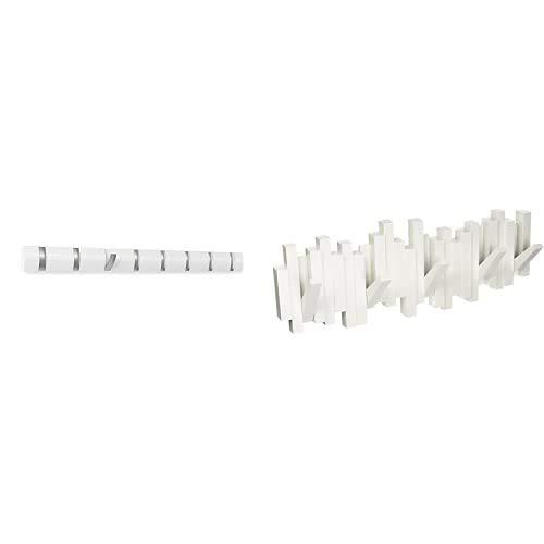 Umbra 318858 660 Percha de pared Flip 8 Blanco + 318211 660 Perchero decorativo de pared Sticks, Blanco