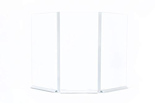 SCHOTT Contact Shield - Sneeze Guard - Tempered Safety Glass - Scratch Resistant - Stainless Steel (Flexible 3-Panel Shield)