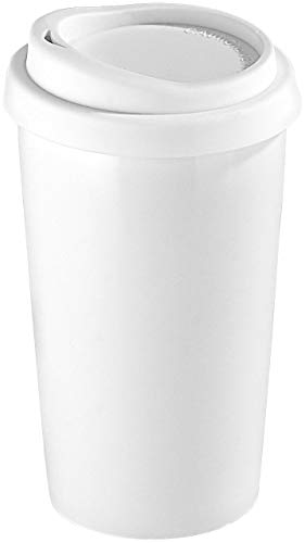 Rosenstein & Söhne Keramikbecher: Coffee-to-go-Becher aus Keramik, Silikondeckel, 250 ml, doppelwandig (Keramik Thermobecher)