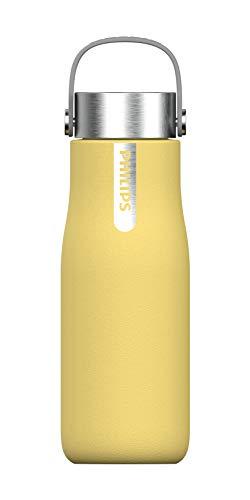 Phillips Go Zero Smart Bottle - Botella de agua UVC-LED Autolimpiable, Acero Inoxidable, Libre de BPA, 350 ml, Amarilo Pastel (AWP2787YL)
