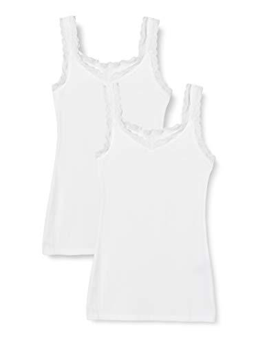 Marca Amazon - Iris & Lilly Camiseta de Tirantes de Algodón Mujer, Pack de 2, Blanco, M, Label: M