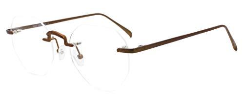 MOSTAR Gafas de círculo irregular de metal de moda sin montura lentes transparentes lentes falsas para hombres mujeres gafas retro marrón
