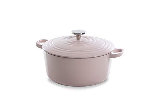 BK Cookware Cocotte en Fonte Émaillée avec Couvercle 28 cm, Dutch Oven, Casserole Induction Ronde 6.7 Litres, Tous Feux, Rose Pink