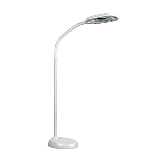 UMPOOL Daylight LED Lamp 2 in 1 Magnifying Floor Lamp 5X & Floor Lamp 6500K for Reading, Repair, Crafts, Sewing etc. (White)
