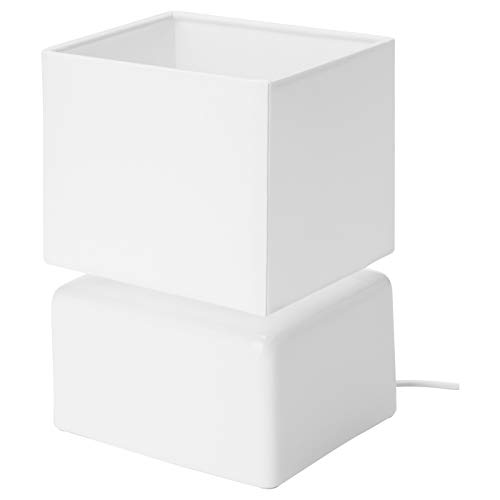 IKEA Visslebo Kleine Tischlampe mit Lampenschirm, E14, weiß, Keramik (UK-Stecker)