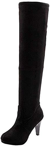 Minetome Mode Frauen Overknee über Knie Stretchy Schuhe High Heel Stiefel( Schwarz EU 38 )