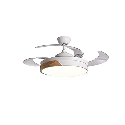 LGOO1 Ventilador de techo de madera, lámpara de ventilador invisible regulable con control remoto, velocidad del viento ajustable, lámpara de ventilador silenciosa, luminaria colgante de estilo redond