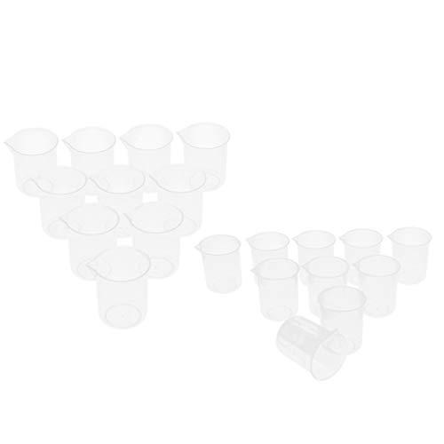 F Fityle Jarra de Tazas Graduadas Transparentes de Plástico de 50 Y 150 Ml, Pared Gruesa Lisa