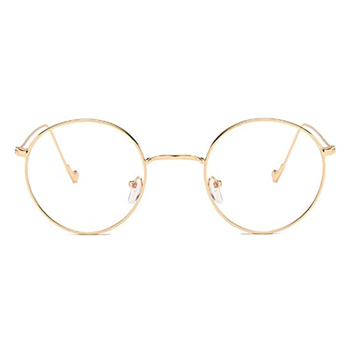 Marco redondo de vidrio claro de lente del metal retro Gafas Gafas decorativo de oro