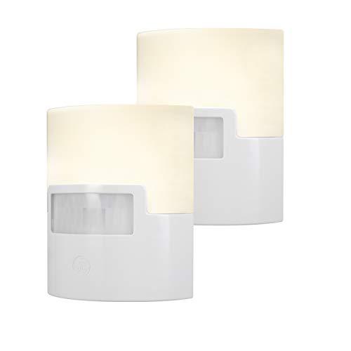 GE Listed, Nursery, White, Enbrighten LED Night Light, Plug-in, Motion Sensor, 40 Lumens, Warm, UL-Certified, Energy Efficient, Ideal for Bedroom, Bathroom, Kitchen, Hallway, 46632, 2 Pack, 2 Count